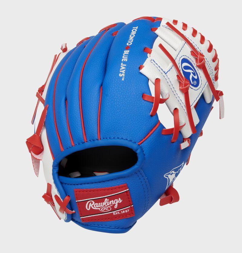 Back of a blue Rawlings Toronto Blue Jays I-web glove with a red Rawlings patch - SKU: 22000004111