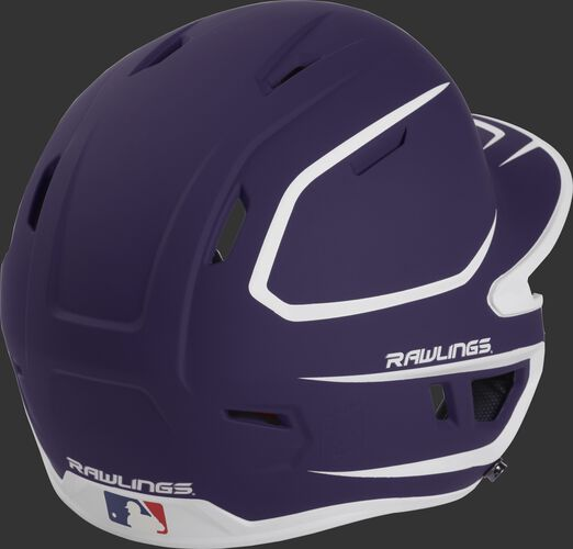 Back right of a two-tone matte purple/white MACH Rawlings senior size batting helmet