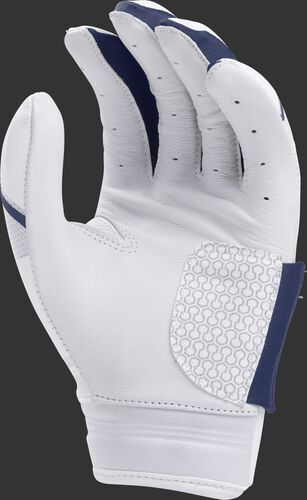 White palm of a white/navy FPWPBG Rawlings Workhorse women's batting glove
