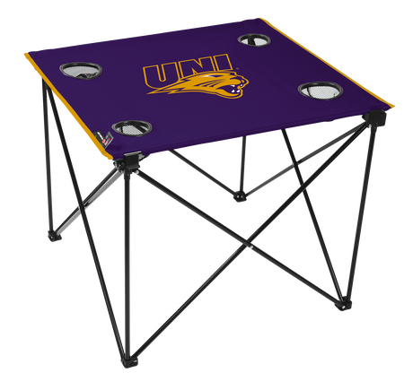 A purple NCAA Northern Iowa Panthers deluxe tailgate table with four cup holders and team logo printed in the middle