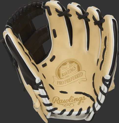 Camel palm of a Rawlings 11.5-Inch Pro Preferred glove with a black web and laces - SKU: PROS314-13CBW