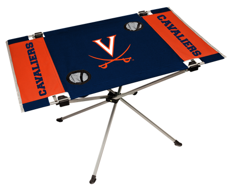 A navy/orange NCAA Virginia Cavaliers endzone table with two cup holders and team logo printed in the middle