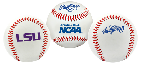 3 views of a NCAA LSU Tigers baseball with a team logo, NCAA logo and Rawlings logo