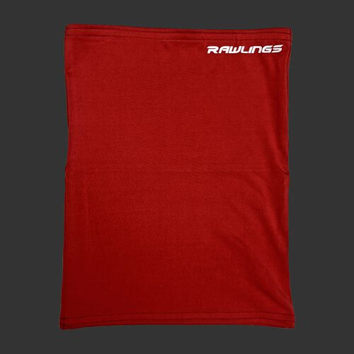 A red Rawlings neck gaiter with a white Rawlings logo in the top right - SKU: RMSKNG-RED
