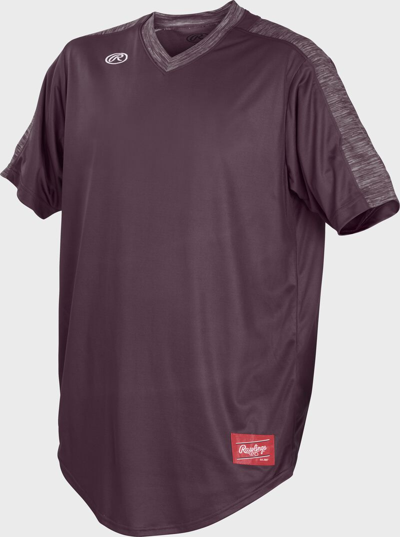 Front of Rawlings Maroon Adult Short Sleeve Launch Jersey  - SKU #LNCHJ-MA