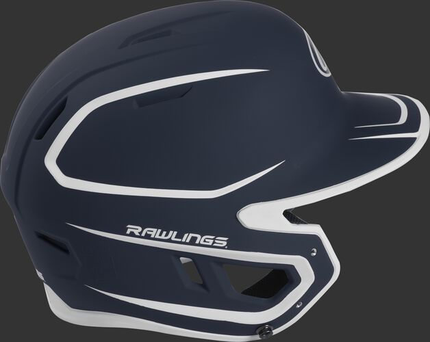 Right side of a two-tone matte navy/white MACH helmet