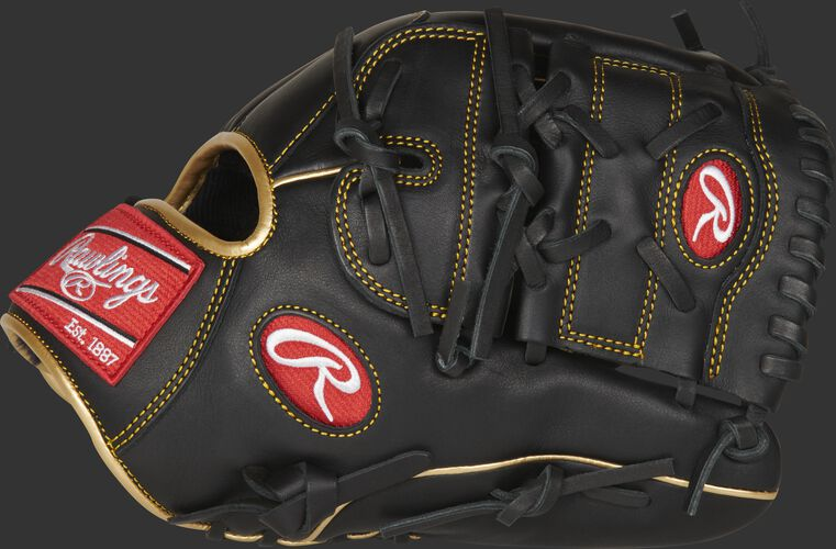 Thumb of a black R9 series 12-inch infield/pitcher's glove with a black 2-piece solid web - SKU: R9206-9BG