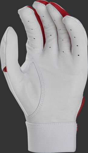White palm of a white/scarlet Rawlings 5150 batting glove - SKU: BR51BG-S