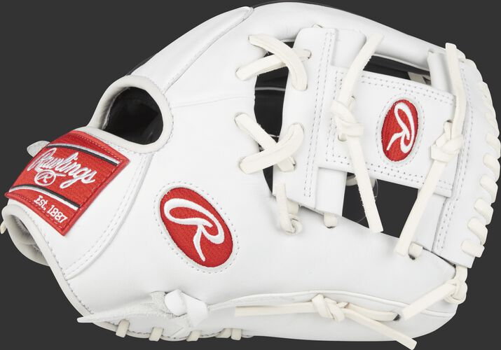 Thumb view of a white GXLE204-2NW Gamer XLE 11.5-inch infield glove with a white I web