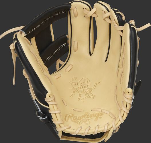 Camel palm of a Rawlings HOH ColorSync 5.0 Speed Shell glove with camel laces - SKU: PRO234-2CB