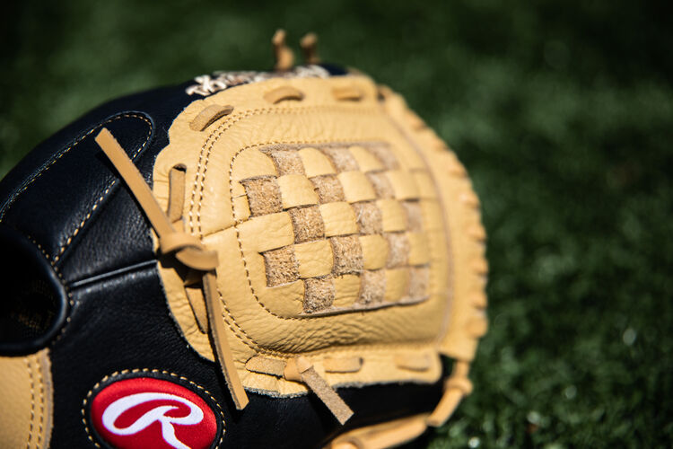 Camel Basket Web on a Rawlings Prodigy glove lying on a field - SKU: P110CBB