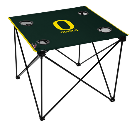 A green NCAA Oregon Ducks deluxe tailgate table with four cup holders and team logo printed in the middle