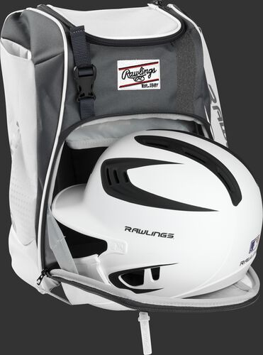 A white/black helmet in the main compartment of a white Rawlings Franchise backpack - SKU: FRANBP-W