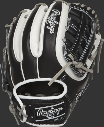 PRO314-6BW Heart of the Hide 11.5-inch H web glove with a black and white back with white double-welting