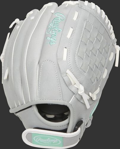 SCSB115M 11.5-inch Sure Catch softball youth glove with a grey back and Velcro wrist strap