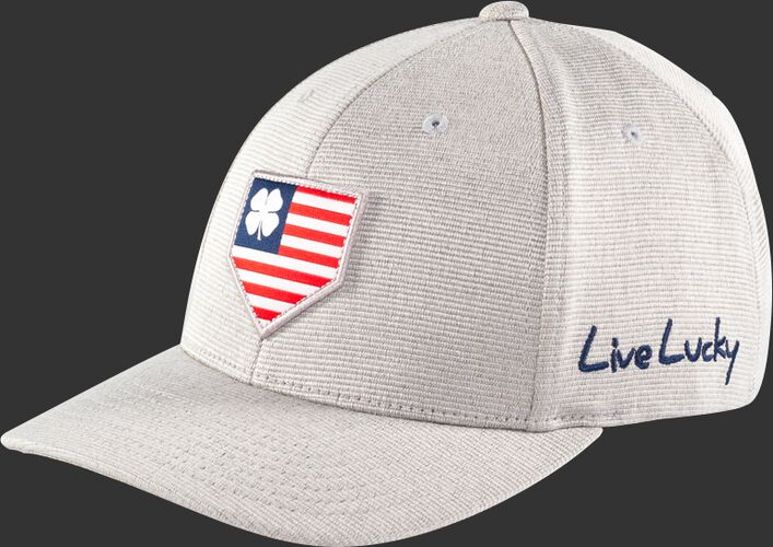 Front Side View Of Rawlings Light Gray Black Clover Special Edition All Star Fitted Hat - SKU #RBCAS