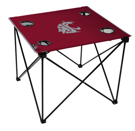 A red NCAA Washington State Cougars deluxe tailgate table with four cup holders and team logo printed in the middle