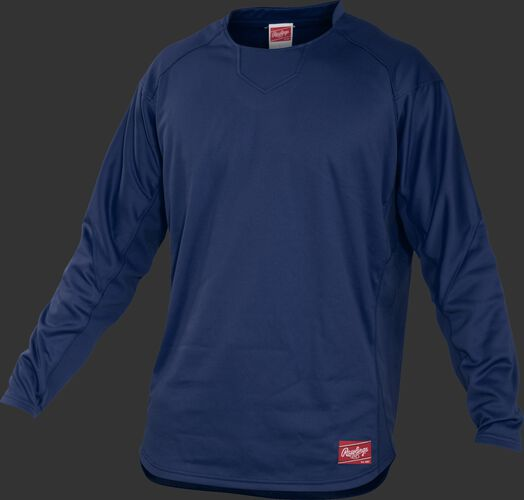 Front of Rawlings Navy Youth Long Sleeve Shirt - SKU #YUDFP3-B-88