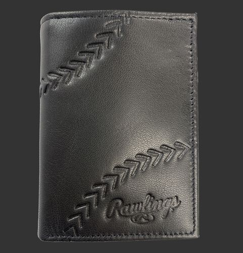 A black Debossed stitch tri-fold wallet with baseball stitches and the Rawlings logo in the bottom right - SKU: RPW008-001