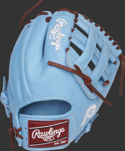 Back of a Columbia blue Philadelphia Phillies Heart of the Hide H-web glove with a maroon Rawlings patch - SKU: RSGPRO204-6PHI
