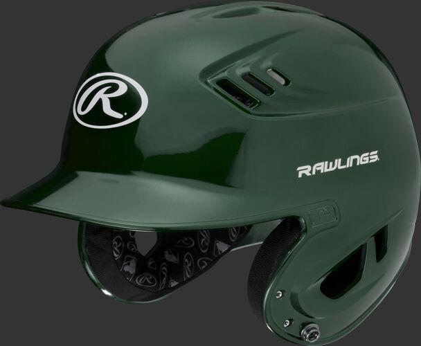 A metallic dark green R16S Velo senior batting helmet with Cool-Flo vents
