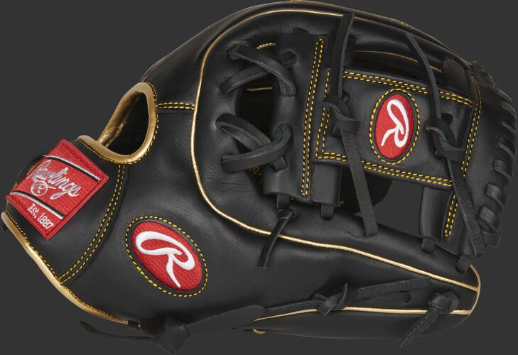 Thumb of a black R9 series 11.5-Inch infield glove with a black I-web - SKU: R9314-2BG