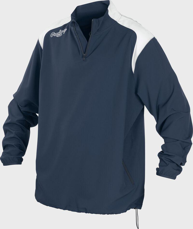 Front of Rawlings Navy Adult Long Sleeve Quarter-Zip Jacket - SKU #FORCEJ-B-88