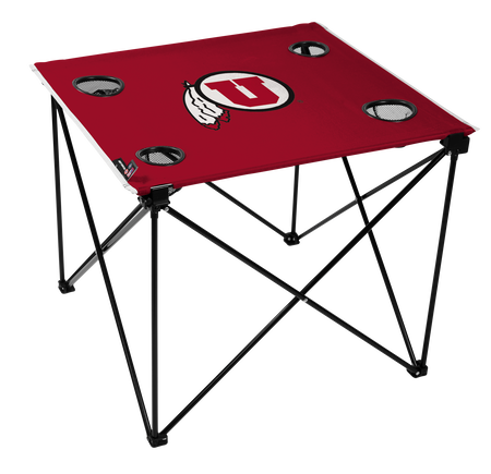 A red NCAA Utah Utes deluxe tailgate table with four cup holders and team logo printed in the middle