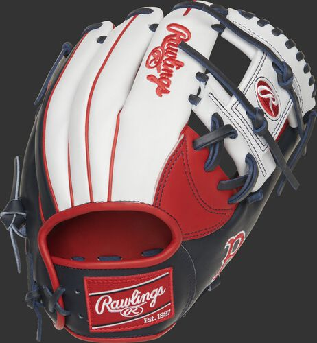Back of a Heart of the Hide Boston Red Sox I-web glove with a red Rawlings patch - SKU: RSGPRONP4-2BOS