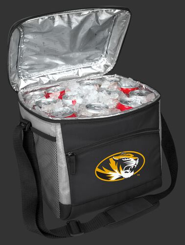 An open Missouri Tigers 24 can cooler filled with ice and drinks - SKU: 10223086111