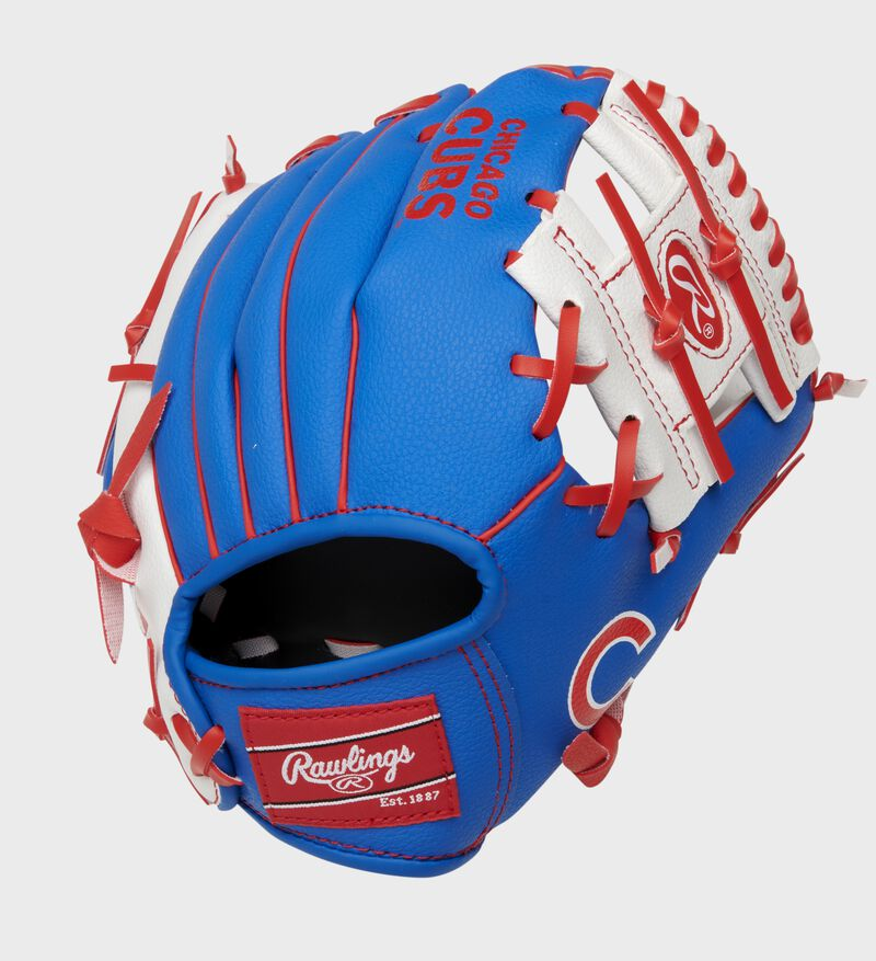 Back of a blue/white Chicago Cubs 10-inch youth I-web glove with a red Rawlings patch - SKU: 22000008111
