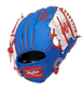 Back of a blue/white Chicago Cubs 10-inch youth I-web glove with a red Rawlings patch - SKU: 22000008111 image number null