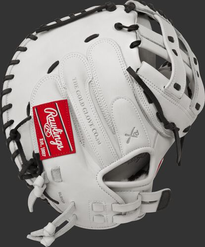 RLACM34 34-inch Liberty Advanced softball catcher's mitt with a white back and Pull-Strap back design