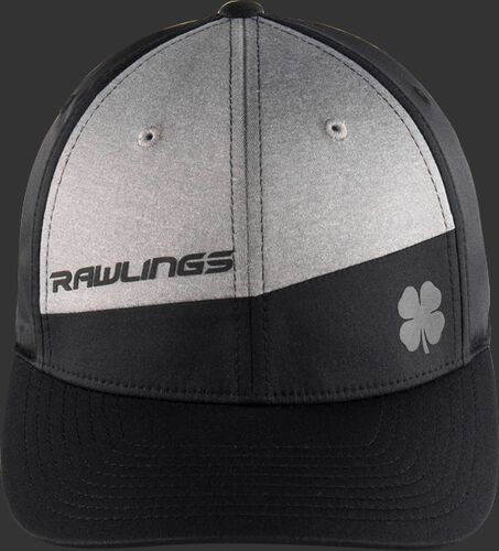Front of a black/grey RBC Sport Rawlings Black Clover snapback hat with a black bill - SKU: BCRBC10061