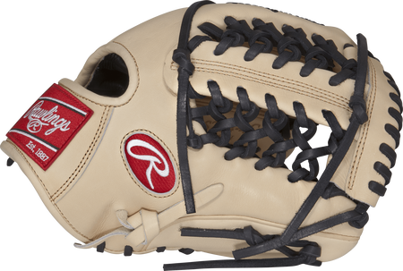 Thumb view of a camel PROS204-4C Pro Preferred 11.5-inch infield glove with a camel Modified Trap-Eze web