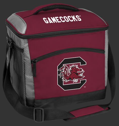 A maroon South Carolina Gamecocks 24 can soft sided cooler with screen printed team logos - SKU: 10223098111