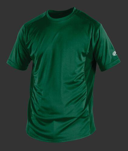 Front of Rawlings Adult Dark Green Short Sleeve Shirt - SKU #SSBASE