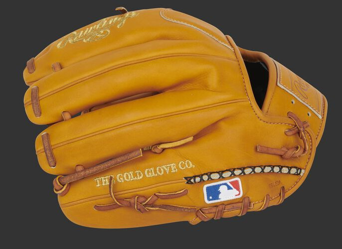 Back of a rich tan Pro Preferred I-web glove with hand sewn welting and MLB logo - SKU: PROS204-2RT