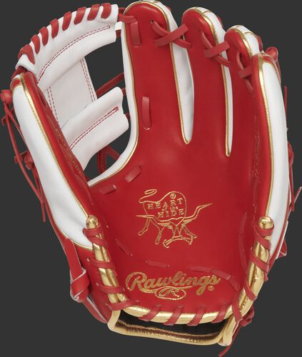 Scarlet palm of a Rawlings St. Louis Cardinals HOH glove with gold stamping and scarlet laces - SKU: RSGPRO314-2STL