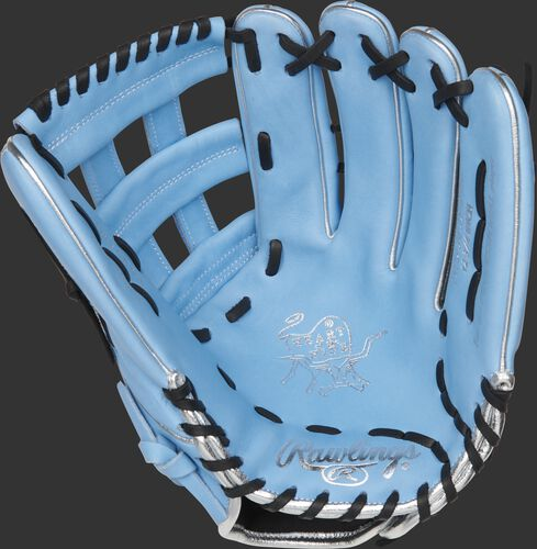 PRO3039-6CB ColorSync 4.0 outfield glove with a columbia blue palm and black laces