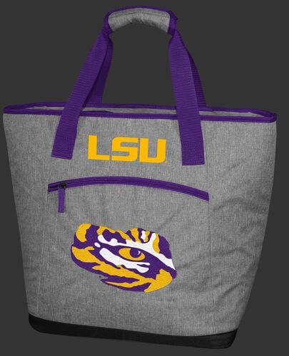 A gray LSU Tigers 30 can tote cooler with an embroidered team logo on the front - SKU: 10323035111