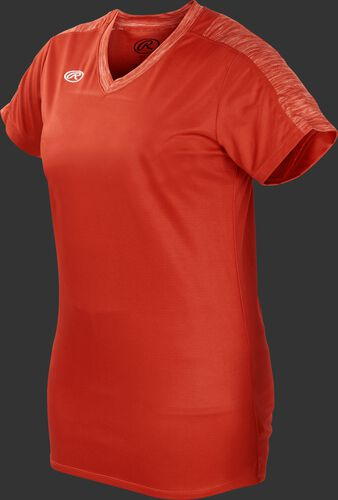 Front of Rawlings Bright Orange Girl's Short Sleeve Launch Jersey - SKU #WLNCHJG-B-88