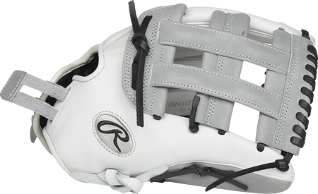 Thumb view of a PRO1275SB-6WG Heart of the Hide 12.75-inch Softball glove with grey trim and a grey H web