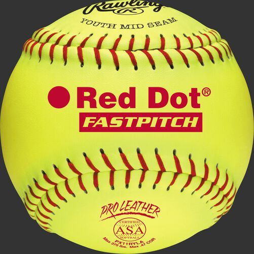 A yellow PX11RYLA ASA NFHS 11-inch Red Dot softball with red stitching