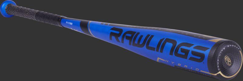 US9V5 Rawlings Velo USA baseball bat with a blue barrel and black end cap