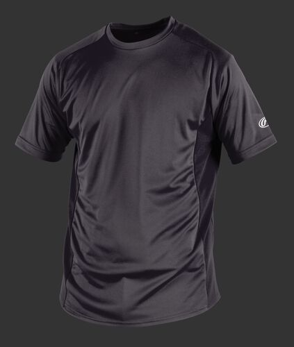 Front of Rawlings Adult Gray Short Sleeve Shirt - SKU #SSBASE