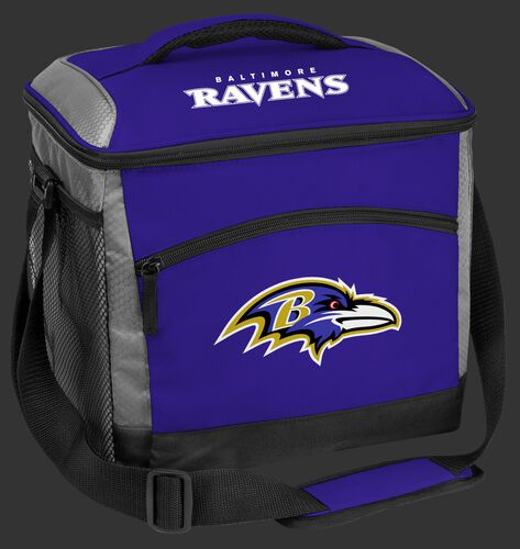A purple Baltimore Ravens 24 can soft sided cooler with screen printed logos - SKU: 10211092111