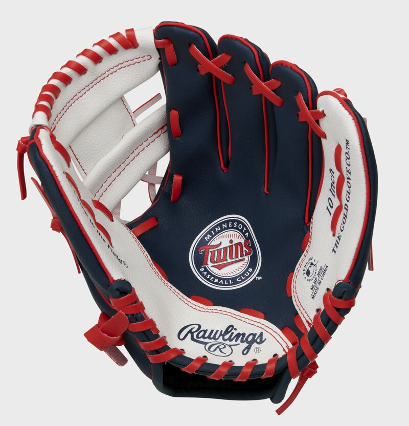 A navy, white & red Rawlings Minnesota Twins youth glove with a Twins logo stamped in the palm - SKU: 22000028111