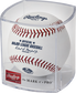 A Milwaukee Brewers 50th anniversary ball in a clear display cube - SKU: ROMLBMB50 image number null