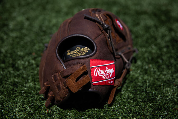 Rawlings patch on a pull strap back of a Player Preferred recreational glove lying on a field - SKU: P140BPS